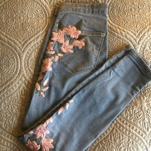 Topshop jeans with flower patches